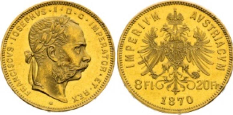 8 Gold Florins/20 Francs  Franz Joseph I