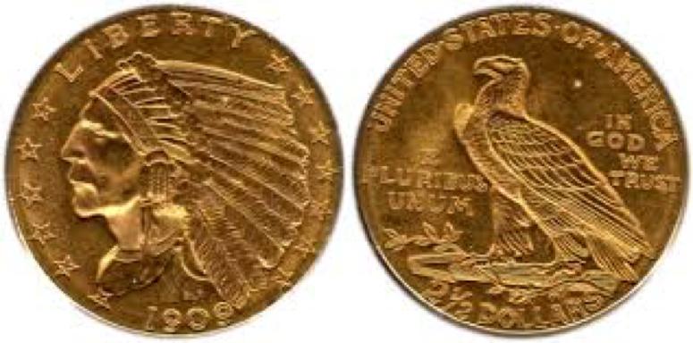 5 Gold Dollars –Indian Head