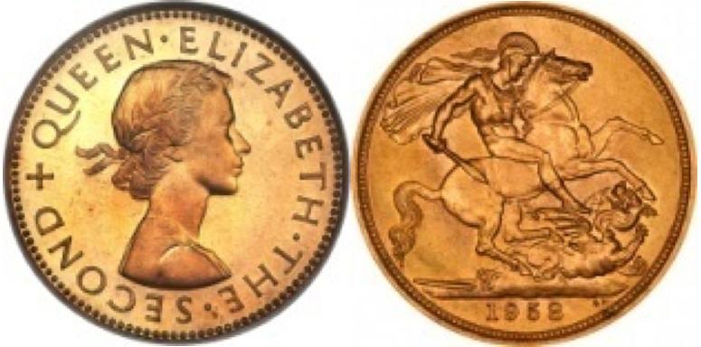 Χρυσή Λίρα Αγγλίας -Ελισάβετ II 1ο πορτρέτο  – Gold Sovereign Elizabeth II 1st portrait