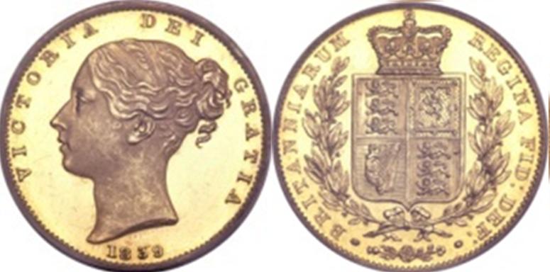 Χρυσή Λίρα Αγγλίας Βικτώρια 1o πορτρέτο – Gold Sovereign Victoria 1st portrait