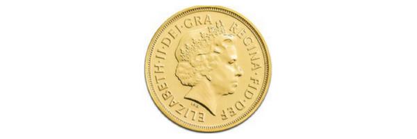 πορτραίτο βασίλισσας ελισσάβετ στη χρυσή λίρα