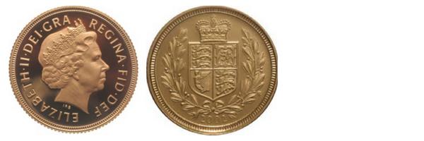 συλλεκτική κοπή της χρυσής λίρας για τα 50 χρόνια βασιλείας της Βασίλισσας Ελισσάβετ