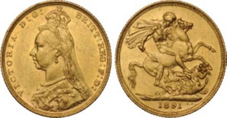 Χρυσή Λίρα Αγγλίας Βικτώρια 2o πορτρέτο – Gold Sovereign Victoria 2nd portrait