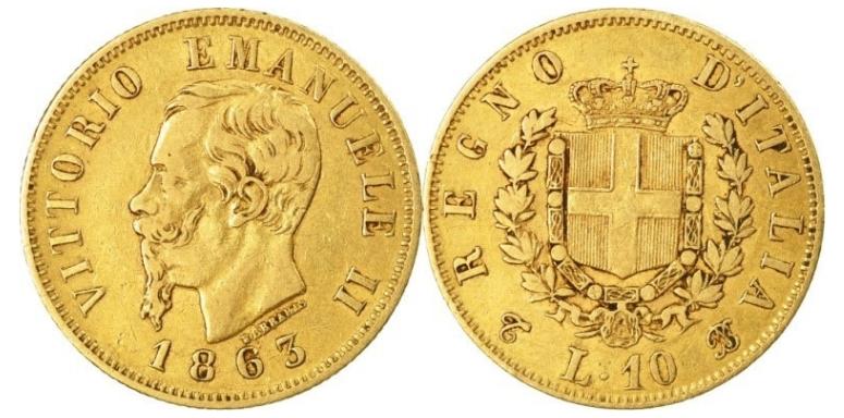 10 Χρυσές Λιρέτες Vittorio Emanuele II/10 Gold Lire Vittorio Emanuele II