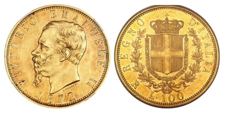 100 Χρυσές Λιρέτες Vittorio Emanuele II/Gold Lire Vittorio Emanuele II