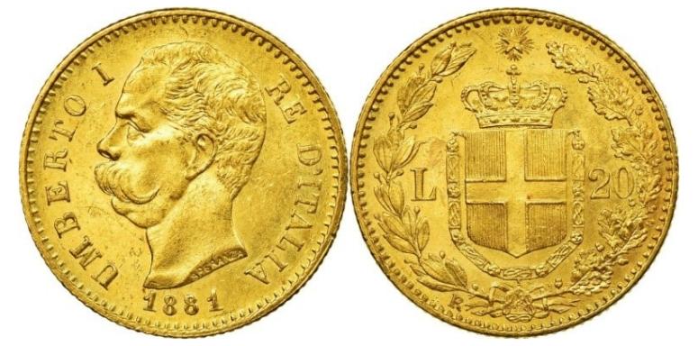 20 Χρυσές Λιρέτες Umberto I/20 Gold Lire Umberto I