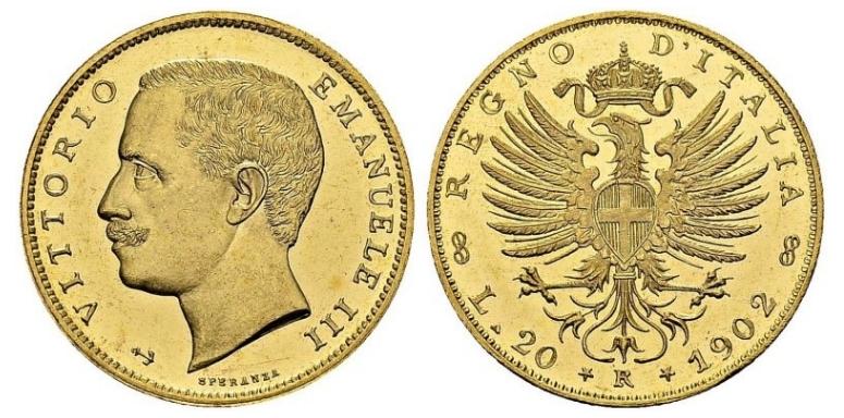 20 Χρυσές Λιρέτες Vittorio Emanuele III/20 Gold Lire Vittorio Emanuele III