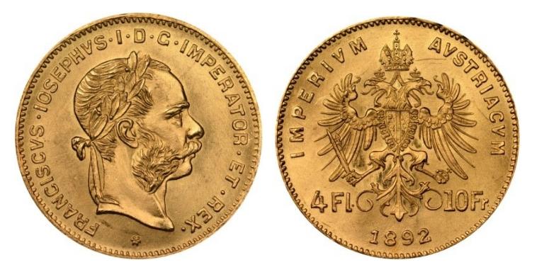 4 χρυσά Φιορίνια/10 Φράγκα Franz Joseph I – 4 Gold Florins/10 Francs Franz Joseph I
