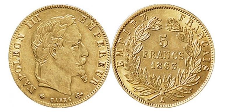 5 χρυσά Φράγκα Ναπολέων ΙΙΙ/5 Gold Francs Napoleon III