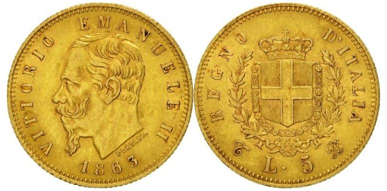 5 Χρυσές Λιρέτες Vittorio Emanuele II/5 Gold Lire Vittorio Emanuele II