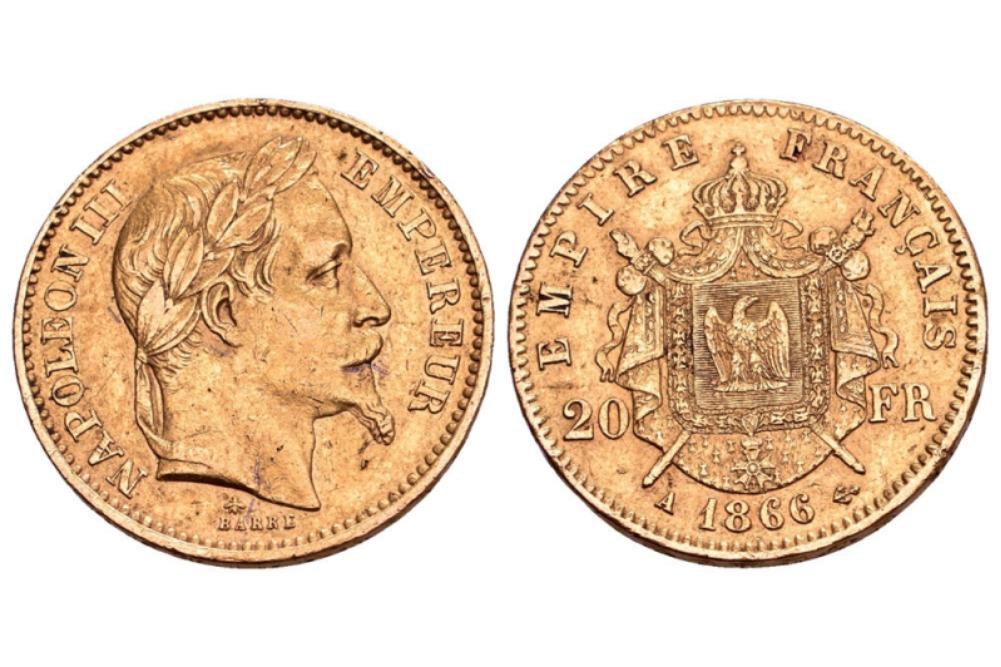 20 χρυσά γαλλικά φράγκα Ναπολέων ο τρίτος δεύτερη εκδοχή