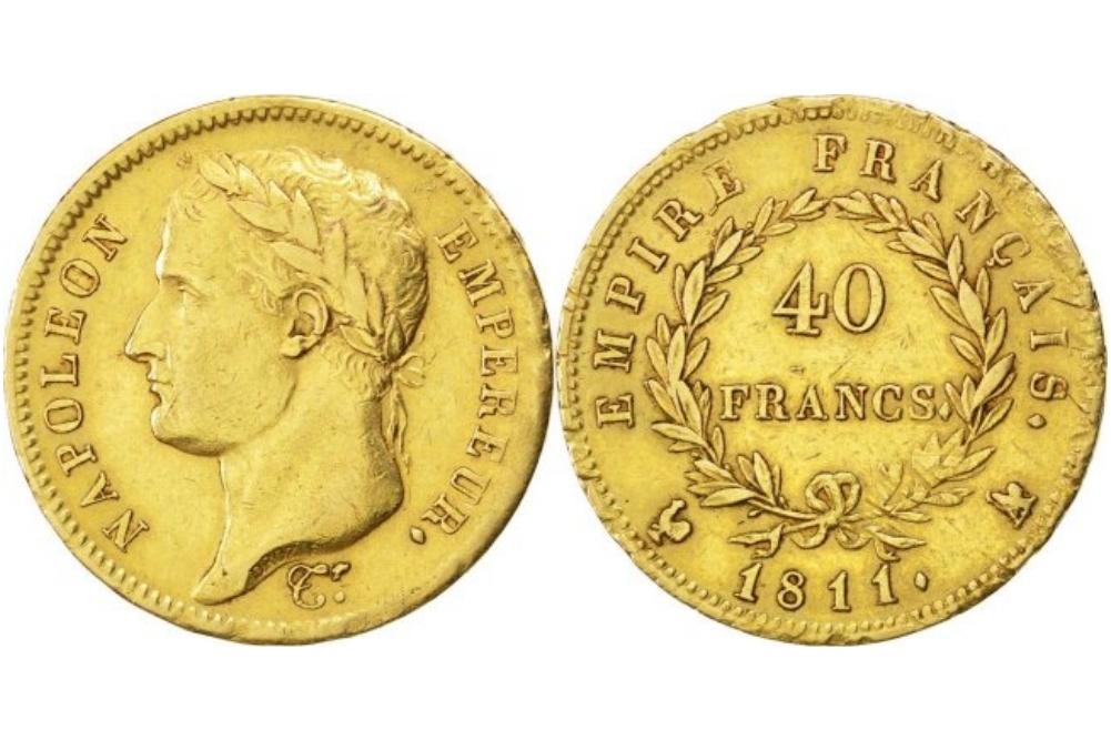 40 γαλλικά χρυσά φράγκα Ναπολέων ο τρίτος δεύτερη εκδοχή