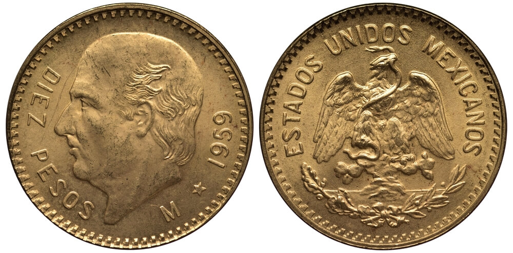 Μεξικανικά χρυσά νομίσματα, δέκα χρυσά πέσος